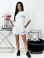 Яскравий однотонний костюм з шортами і футболкою, фото 1