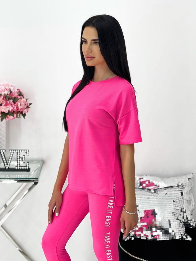 Женский летний спортивный костюм-двойка футболка и лосины