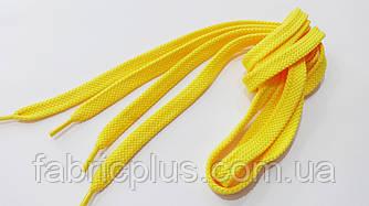 Шнурки в кроссовки плоские 100 см насыщенный желтый (10 мм)