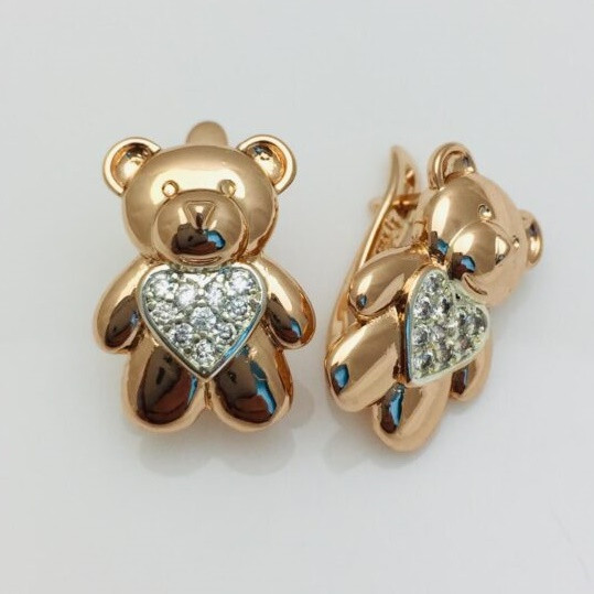 Сережки позолота + родій, мед золото, 92202745-01 H-18 мм B-13 мм ювелірна біжутерія Fallon