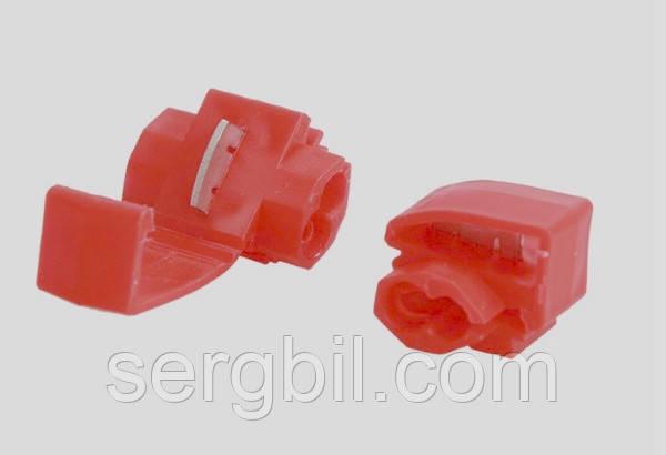 Відгалужувач для проводу обжимний, ізольований, червоний AWG22-18, 0,5-1,0 кв. мм