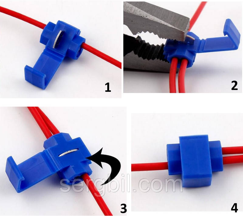 Відгалужувач для проводу обжимний, ізольований, синій AWG18-14, 0,75-2,5 кв. мм