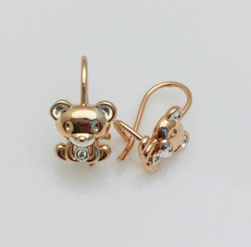 Сережки позолота + родій 92202744-01, мед золото, H-14 мм B-9 мм ювелірна біжутерія Fallon