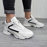 Кожаные перфорированные кроссовки на платформе, фото 1