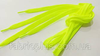 Шнурки в кроссовки плоские 100 см желтые флуоресцентные (10 мм)