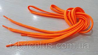 Шнурки в кроссовки плоские 100 см оранжевые флуоресцентные (10 мм)