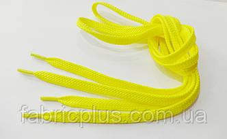 Шнурки в кроссовки плоские 100 см желтые (10 мм)