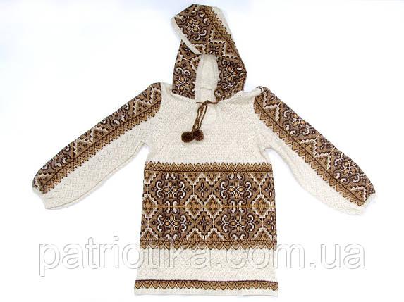 Вязаная кофта с капюшоном Влада коричневая | В'язана кофта з капюшоном Влада коричнева, фото 2