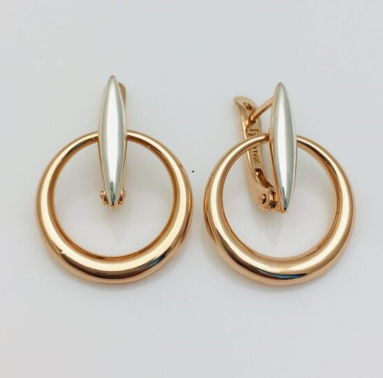 Сережки позолота + родій, мед золото, 92100795 H-25 мм B-19 мм ювелірна біжутерія Fallon Jewelry