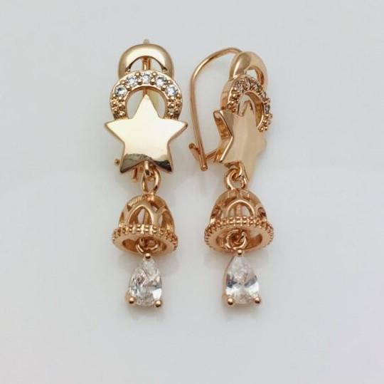 Серьги позолота, мед золото, 82202789-01 H-35 мм B-11 мм ювелирная бижутерия Fallon Jewelry