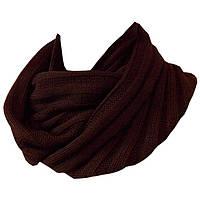 Вязаный зимний шарф - снуд шикарного коричневого цвета