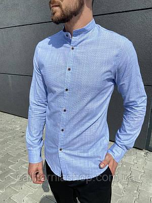 Мужская голубая рубашка из льна без воротника с длинным рукавом