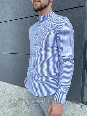Мужская рубашка белая в голубую полоску из льна без воротника с длинным рукавом