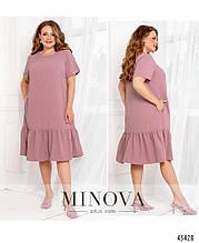 Жіноче літнє плаття міді Креп Розмір 50 52 54 56 58 60 62 64 66 68 В наявності 6 кольорів