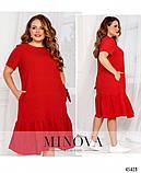 Жіноче літнє плаття міді Креп Розмір 50 52 54 56 58 60 62 64 66 68 В наявності 6 кольорів, фото 8