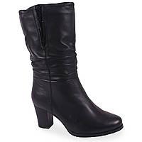 Модные женские полусапоги С.Clouds (черные, зимние, на каблуке, есть замок, есть резинка, кожаные)