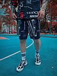 Спортивний костюм Чоловічий спортивний комплект / чоловічий комплект шорти+футболки чорний з малюнками, фото 2