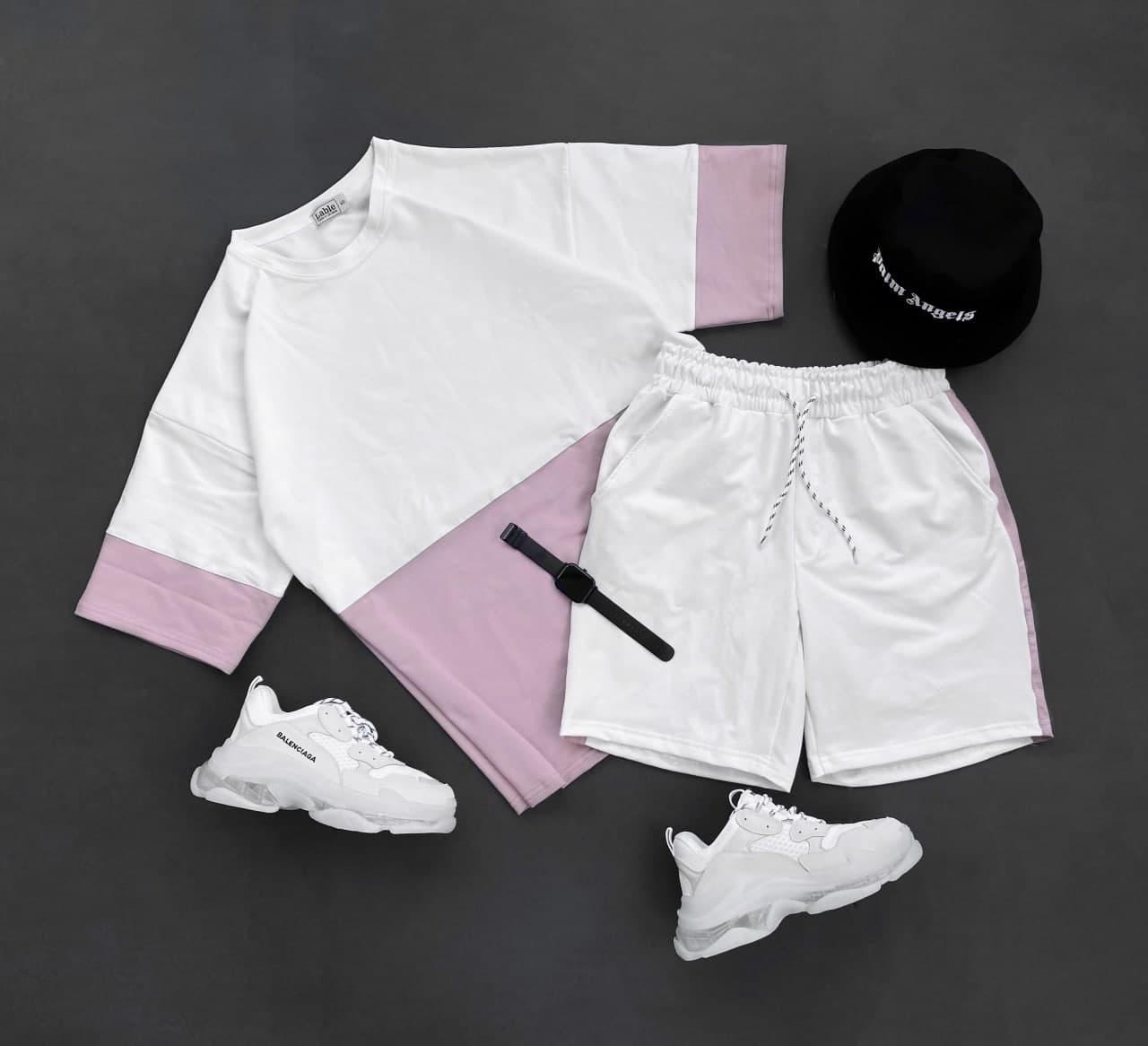 Спортивний костюм Чоловічий спортивний комплект ліловий/ чоловічий комплект шорти+футболка ліловий