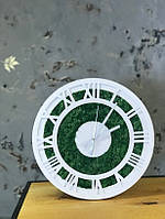 Еко-годинник з стабілізованого моху з римськими цифрами