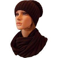 Женская вязаная шапка - носок (утепленный вариант) объемной вязки и шарф-снуд