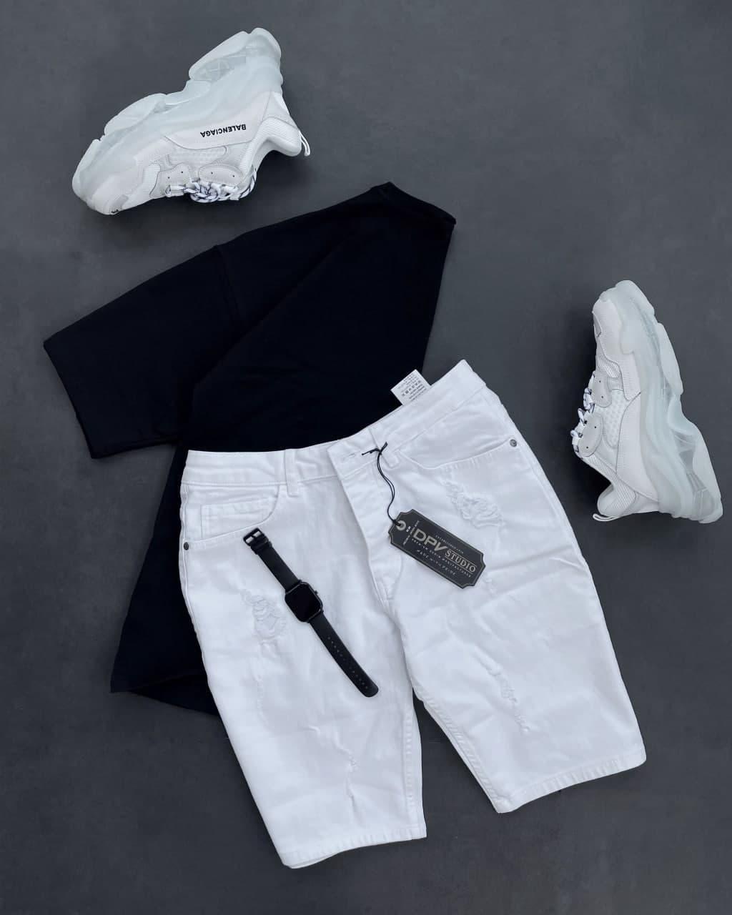 😜 Шорти - Чоловічі джинсові шорти білі / чоловічі джинсові шорти білі