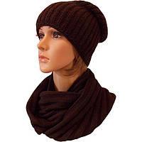 Женская вязаная шапка-носок (утепленный вариант) объемной вязки и шарф-снуд
