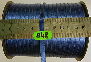 Лента атласная двухсторонняя 5мм, цвет синий, Турция