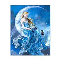 "Алмазная мозаика. Strateg FA40488 ""Девушка на луне"" 40х50 см"