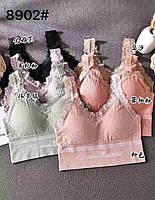 Топ бра, бавовна трикотаж, кольорові жіночі футболки 46-52 (8902)