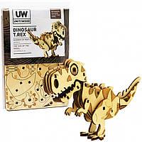 Деревянный конструктор сувенир коллекционная модель «Unitywood» Динозавр Тирекс, 49 деталей 3D пазл 13,5*9*4,5  см