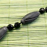 Бяньши черный нефрит, бусы, 256БСБ, фото 6