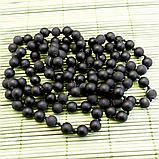 Бяньши черный нефрит, бусы, 262БСБ, фото 2