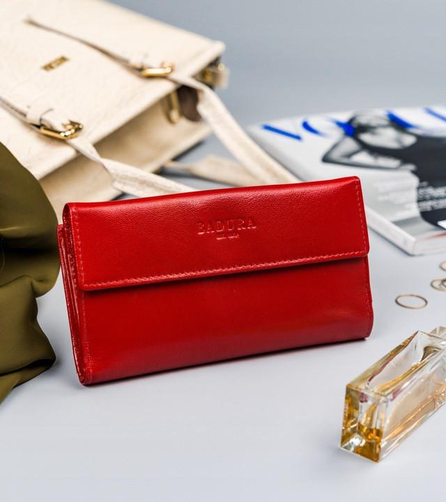 Жіночий шкіряний гаманець Badura з RFID 9,5 х 17,5 х 3,3 (PO_D116CR_CE) - червоний
