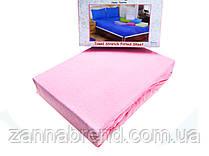 Комплект махровая простынь на резинке 220*240+25 см и 2 наволочки 50*70см цвет светло-розовый