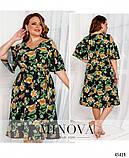 Ошатне жіноче плаття з квітковим принтом Софт Розмір 50 52 54 56 58 60 62 64 66 68 В наявності 5 кольорів, фото 3