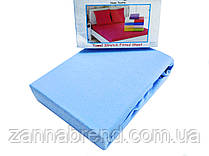 Комплект махровая простынь на резинке 160*200+25 см и 2 наволочки 50*70см цвет джинс