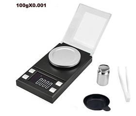 Высокоточные профессиональные ювелирные весы 100g/0.001g - TL-100 с гирей и пинцетом