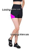 Шорты спортивные женские с высокой посадкой, черные женские шорты для фитнеса и спорта Valeri 1241, фото 1