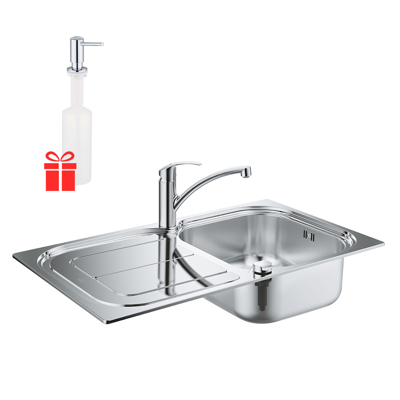 Набор Grohe мойка кухонная K300 31565SD0 + смеситель Eurosmart 33281002 + дозатор для моющего средства