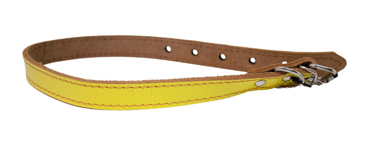 КР1400-38 Ошейник Lux прошитый(кожа)20мм/40-50см, жёлтый/зенит/лак