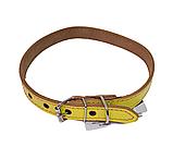 КР1400-38 Ошейник Lux прошитый(кожа)20мм/40-50см, жёлтый/зенит/лак, фото 2
