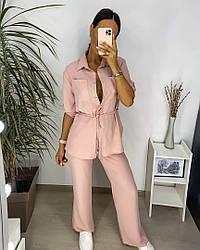 Батальний жіночий брючний костюм штани і сорочка
