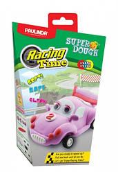 Дитяча маса для ліплення Super Dough Racing time Машинка (рожева), інерційний механізм, Паулинда