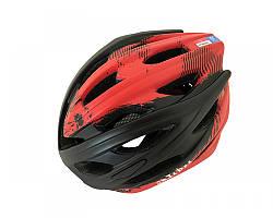 Велошолом ченно-червоний Calibri 450