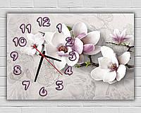 Декоративные с 3D эффектом часы картина настенные в спальню Весенняя нежность, 30х45 см