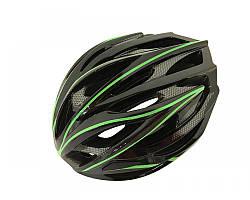 Велошолом чорно-зелений карбон Calibri D32
