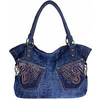 Сумка жіноча №8248-1R з кишенями джинс Синій, фото 1