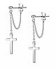 Серьги с крестиком на цепочке из нержавеющей стали серебристые в стиле панк 2шт