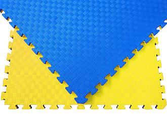 Мат татами 100*100*3 см Eva-Line Extra Quality синий/желтый Плетёнка 100 кг/м3 (будо-мат, даянг)