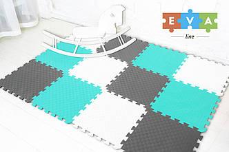 """М'який підлогу килимок-пазл """"Веселка"""" Eva-Line 200*150*1 см Сірий/Білий/Блакитний"""